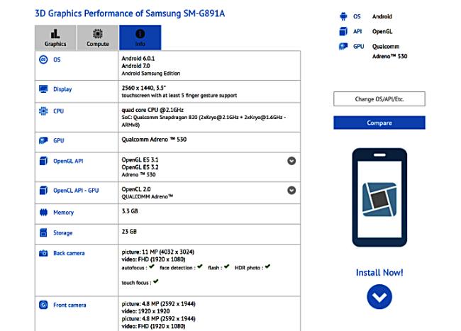 Galaxy S7 Active im Bench Bild Sammobile
