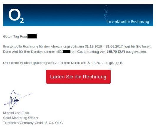 BSI warnt vor gefälschten o2-Rechnungen