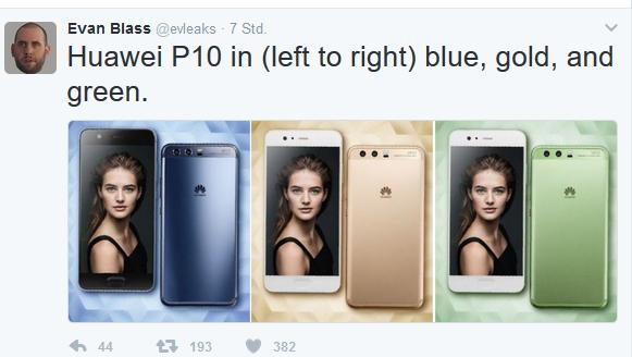 Huawei P10 Quelle Evan Blass über Twitter