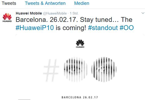 Huawei P10 auf MWC Huawei über Twitter
