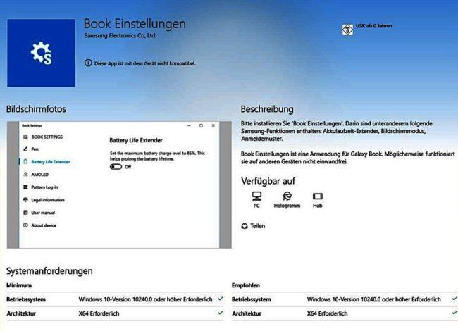 Samsung Book Windows Store
