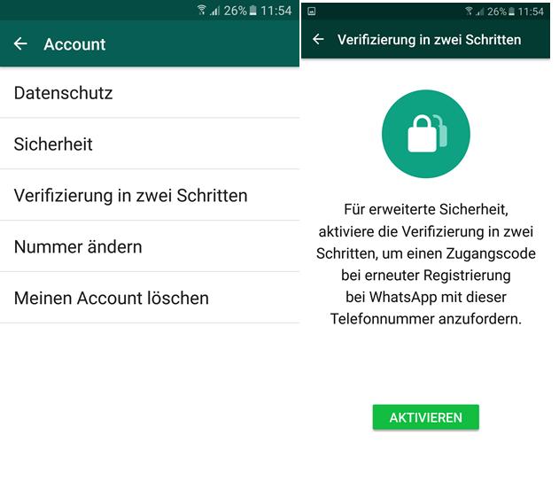 Screenshot WhatsApp Zwei Faktor