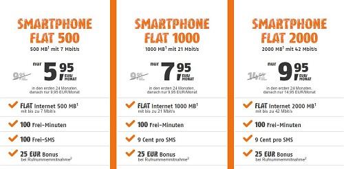 klarmobil Smartphone-Flats 1000 und 2000