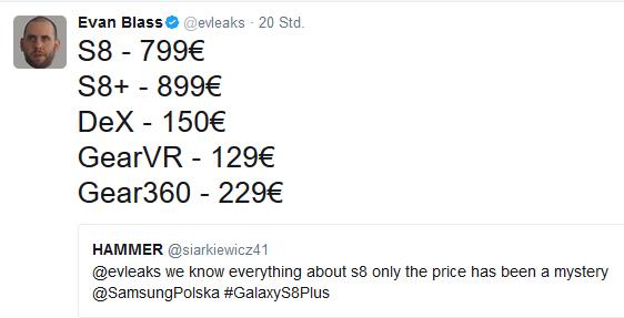 Vermutliche Preise Galaxy S8 Quelle Evan Blass über Twitter