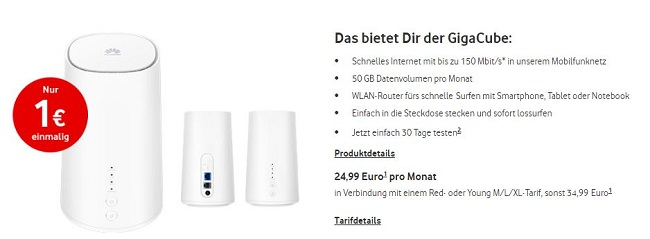 Vodafone GigaCube: 50 GB mit LTE ab 24,99 Euro gestartet ...