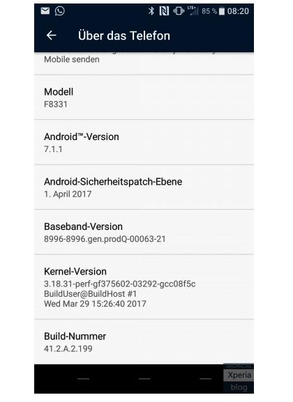 Xperia Update Android 7..1.1 Bild XperiaBlog