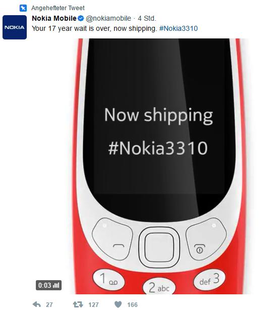 Nokia 3310 gestartet Bild Nokia über Twitter