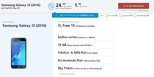 O2 Free 15 Samsung Galaxy J3 Eff Mtl 2999 Mobilfunk Talkde