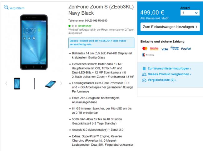 Asus ZenFone Zoom S Hersteller