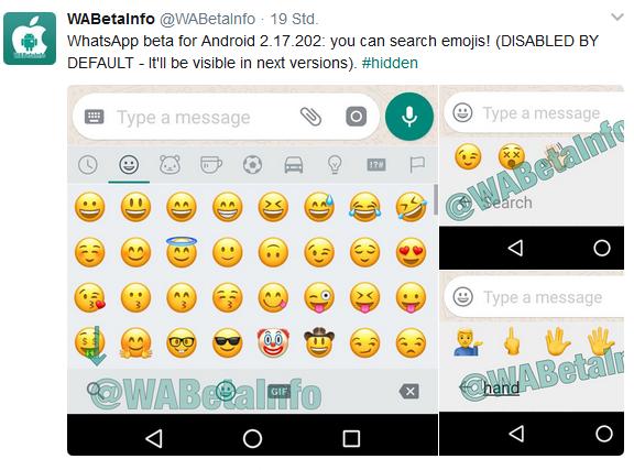 WhatsApp mit Emoji Suchfunktion Quelle WABetaInfo über Twitter