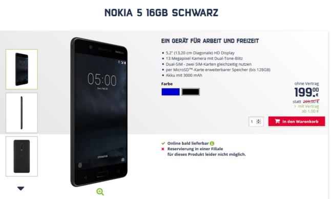 Nokia 5 bei Mobilcom-Debitel