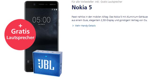 Nokia 5 mit Gratis Lautsprecher bei o2