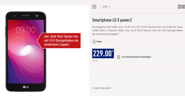 LG X power 2 bei Aldi Nord