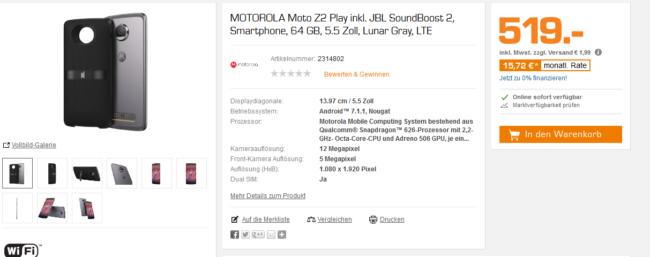 Moto Z2 Play inklusive JBLBoost 2 Mod bei Saturn