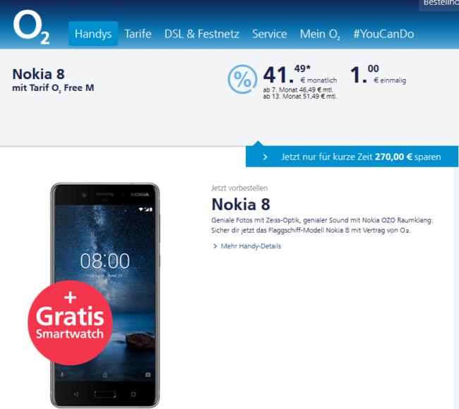 Nokia 8 bei O2