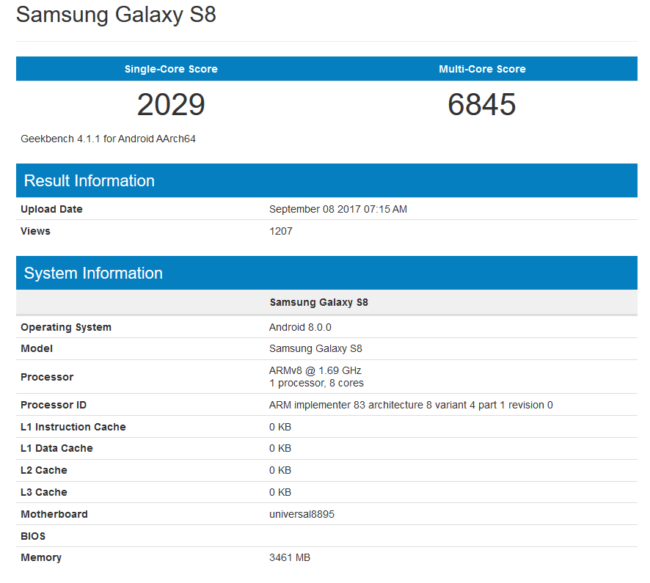 Galaxy S8 im Geekbench Bild Geekbench com