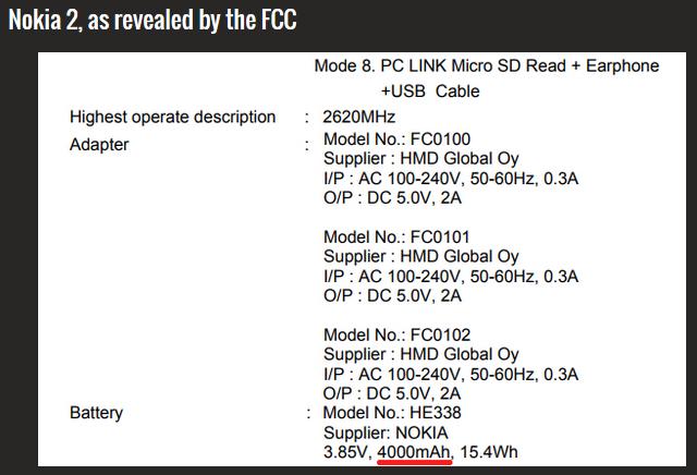 Nokia 2 bei FCC Bild Phonearena