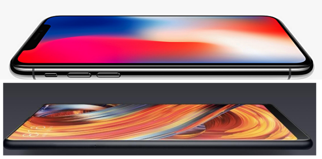 iPhone X oben, Xiaomi MiMix 2 unten