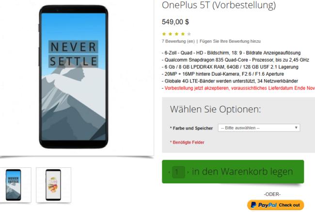 OnePlus 5T bei Oppomart gelistet