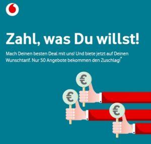 """Vodafone """"Zahl, was du willst"""": Auf Red S und Red M mitbieten"""