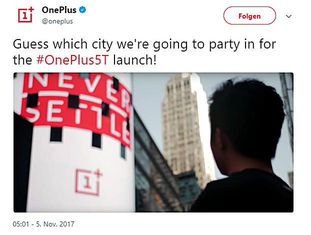 OnePlus 5T Launch Bild OnePlus über Twitter