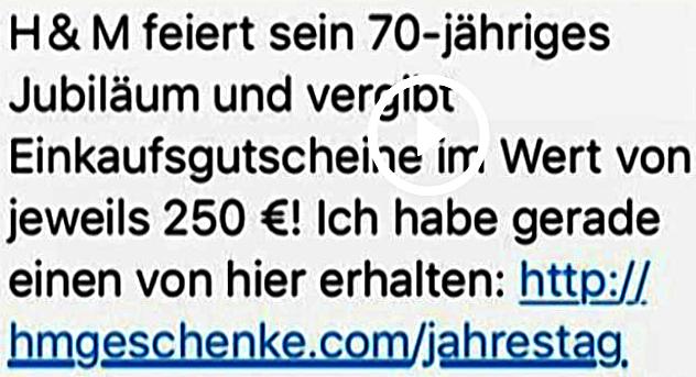 WhatsApp H&M Fake-Gutschein