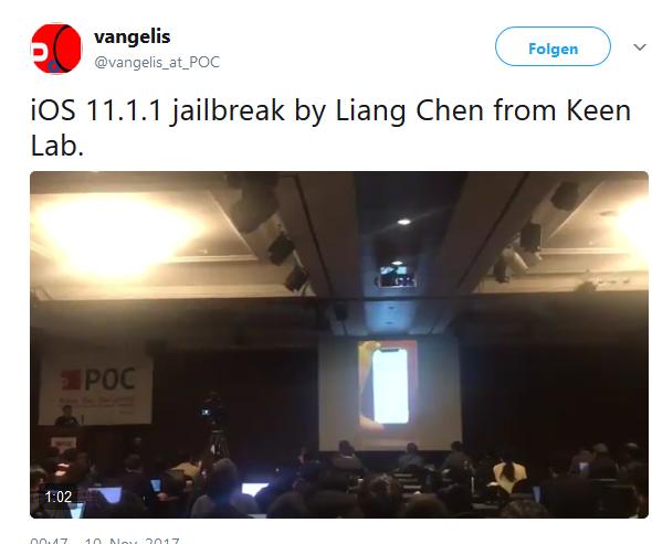 iPhone X Jailbreak Bild Vangelis über Twitter