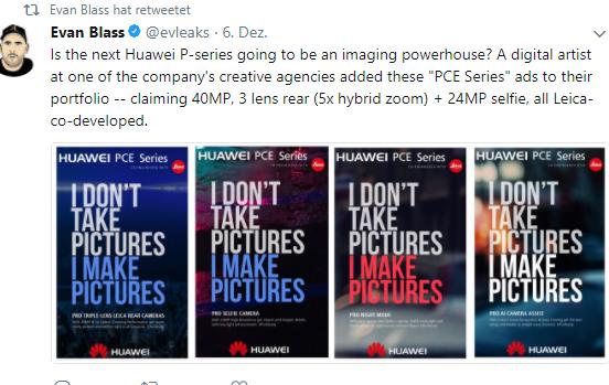 Huawei Mate 11 bzw. PCE-Serie Bild Evan Blass über Twitter