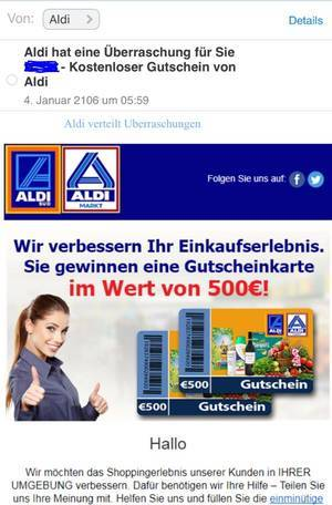 Fake Gutschein von Aldi Bild CASCHYSBLOG