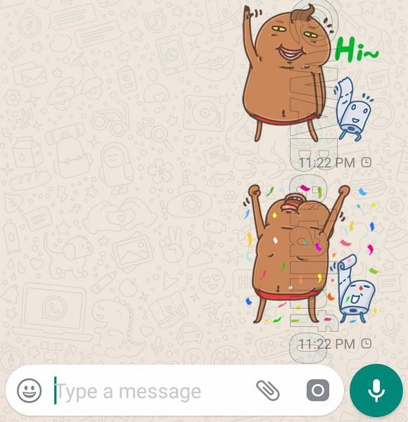 WhatsApp Sticker Unchi und Rolle Bild WABetaInfo