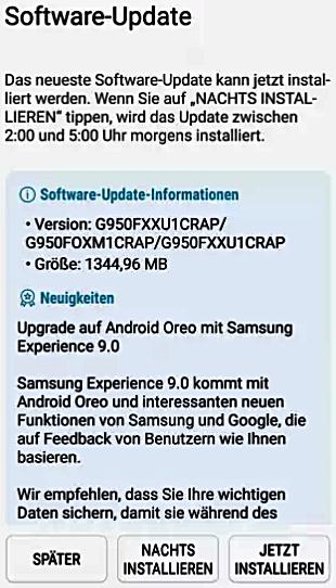 Galaxy S8 Android 8.0 Update Bild heise.de