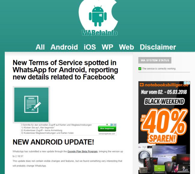 Android Upadte betrifft auch WhatsApp Bild WABetaInfo über Twitter
