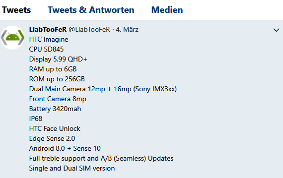 HTC U12 Specs Quelle LabTooFer über Twitter