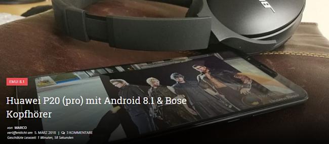 Huawei P20 mit gratis Bose Ear Bild Huawei Blog