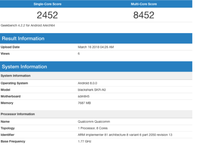 Xiaomi Blackshark im Geekbench Bild wccftech Geekbench
