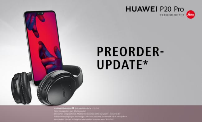 Huawei P20 Pro gratis Kopfhörer Bild Huawei über Twitter