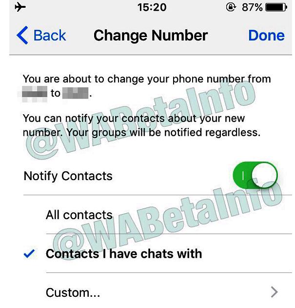 WhatsApp Nummer ändern Bild WABetaInfo über Twitter