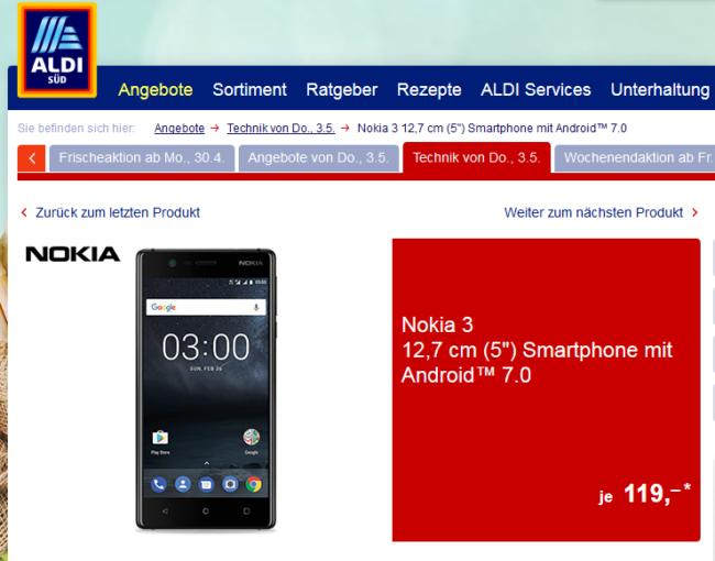 Nokia 3 bei Aldi