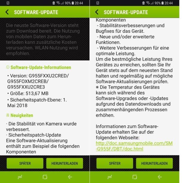 Galaxy S8 Update Screenshot