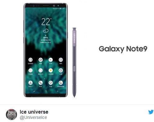 Angebliches Galaxy Note 9 Bild IceUniverse über Twitter