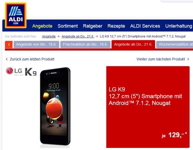 LG K9 bei Aldi Süd