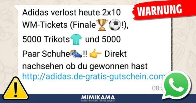 WhatsApp Fake Gewinnspiel Bild mimikama at