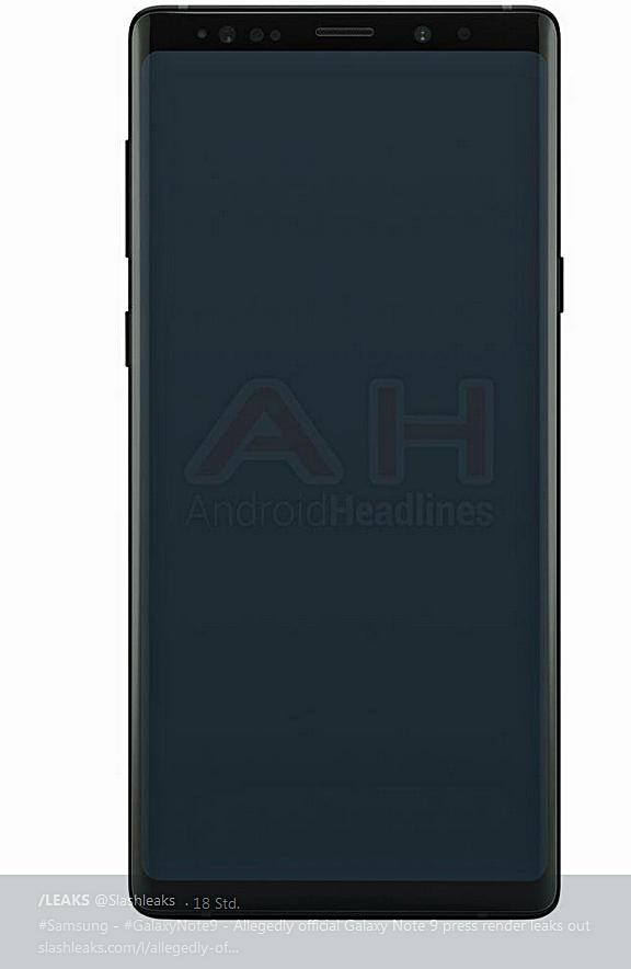 Angebliches Pressebild Galaxy Note 9 von Slashleaks über Twitter und AndroidHeadlines