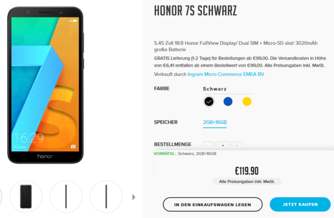 Honor 7S im Hihonor Store