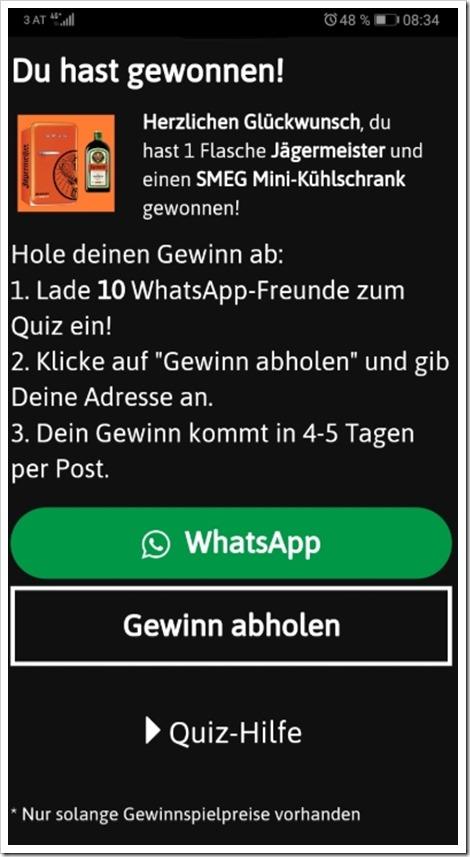 WhatsApp Jägermeister Fake Bild mimikama.at