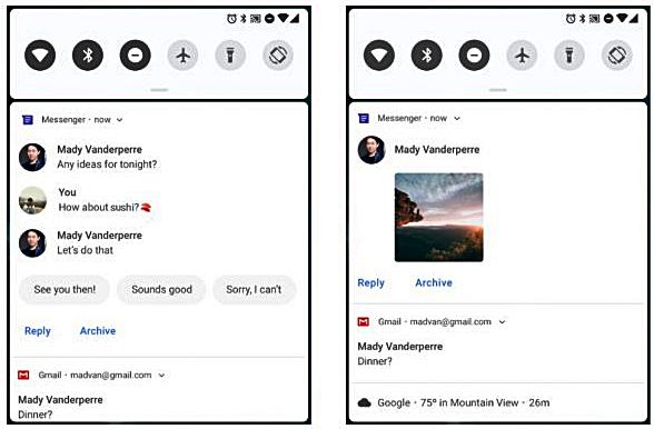 Neuer Benachrichtigungsbereich Android Pie Bild Google