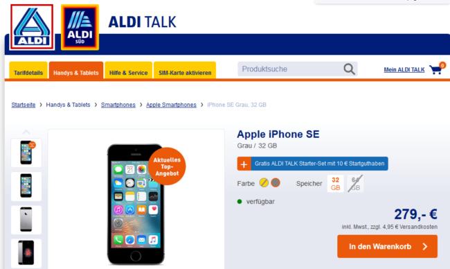 iPhone SE bei Aldi online