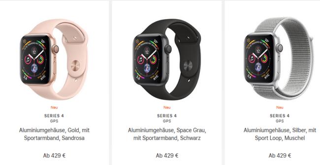 Apple Watch Serie 4 Beispiel-Preise Bild Apple