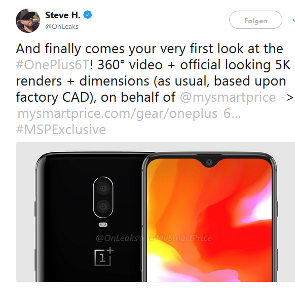 OnePlus 6T Quelle Steve H über Twitter