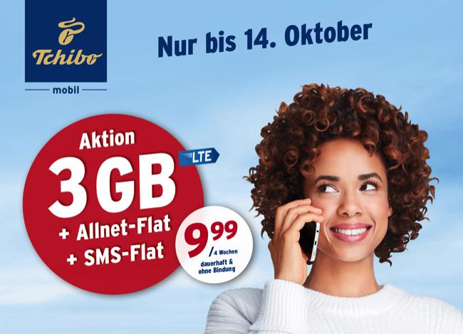 Tchibo mobil Aktionstarif 3 GB und Allnet Flat für 9,99 Euro › Mobilfunk Talk.de   News